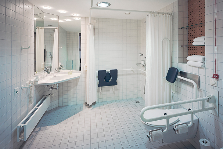 double room designed for accessibility - bathroom