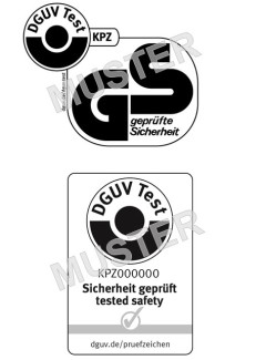 samples of GS mark and DGUV Test mark