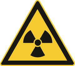 Schild: Warnung vor radioaktiven Stoffen oder ionisierender Strahlung