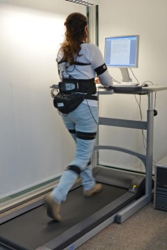 Test subject equipped with the CUELA measurement system