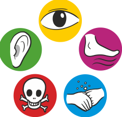 Five icons for noise, toxins...