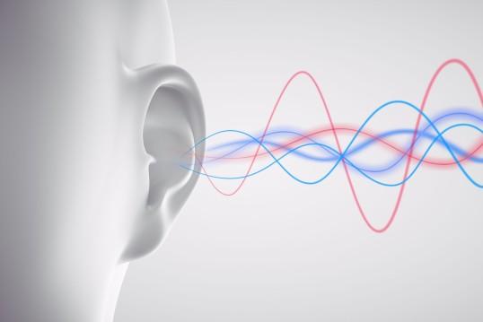 Schallwellen treffen auf Ohr (Grafik)