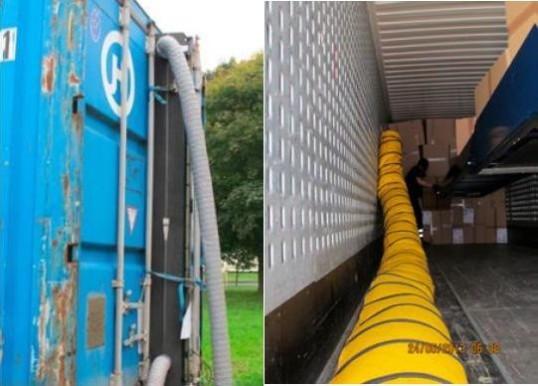 zwei Fotos von Frachtcontainern nebeneinander