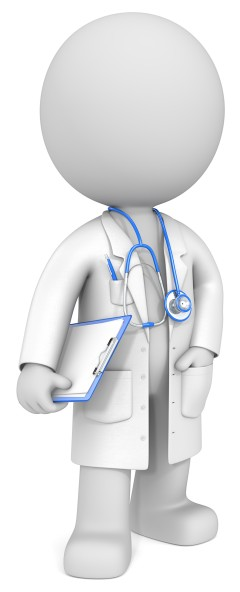 3D-Figur im Arztkittel