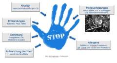 Blauer Handabdruck mit dem Wort Stop