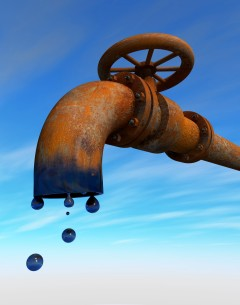 Verrosteter Auslauf einer Pipeline