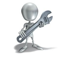 3D-Figur mit Schraubenschlüssel