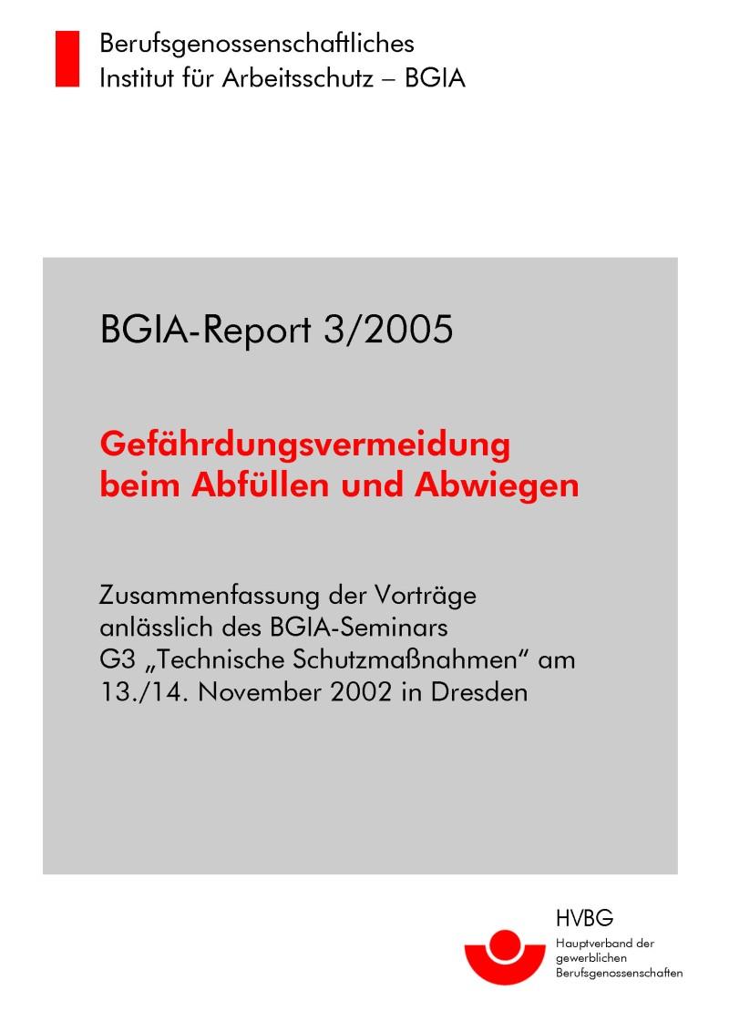 Gefährdungsvermeidung Beim Abfüllen Und Abwiegen Bgia Report 32005
