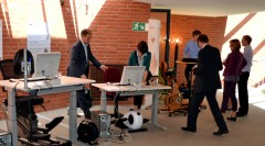 Participants of the workshop whilst testing different dynamic workplaces