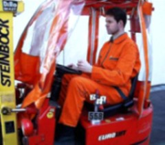 Test person in a forklift truck