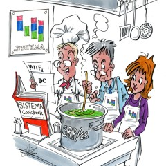 Cover image: cartoon with three cooks cooking according to the SISTEMA cookbook