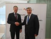 Dr. Gregor Kemper (DGUV) mit Sergei Aleshchenko, stv. Vorsitzender des Sozialversicherungsfonds der Russischen Föderation, © Petersburger Dialog