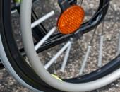 Ein Reifen eines Rollstuhls