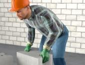 Bild eines Bauarbeiters beim richtigen Tragen einer Last