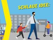 Illustration: Blöde Idee: Elterntaxi - Schlaue Idee: zu Fuß zur Schule