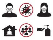 Symbole: Mundschutz, Desinfektion, Social Distancing