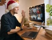 Foto: Videokonferenz mit Nikolaus-Mütze