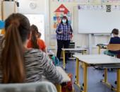 Foto: Schulunterricht mit Mund-Nase-Bedeckung