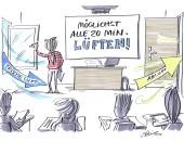 Zeichnung: Klassenzimmer, alle 20 Minuten lüften