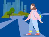 Illustration: Kind beim Überqueren einer Straße im Dunkeln