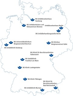 Map of germany with locations of the BG-hospitals