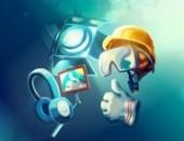 Das Bild zeigt einen Scheinwerfer, der die Persönliche Schutzausrüstung beleuchtet: Gehörschutz, Schutzhelm, Schutzhandschuhe und Schutzbrille.